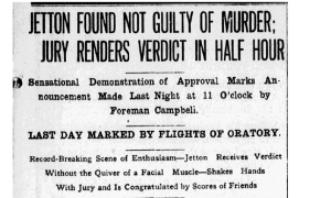 News of Jetton's acquittal was posted in the papers.