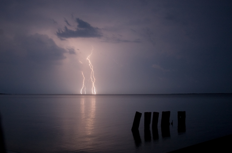 June 2008 - Lightning across the Chesapeake Bay, from Eastpoint, at Onancock, Virginia. (David Boraks photo)