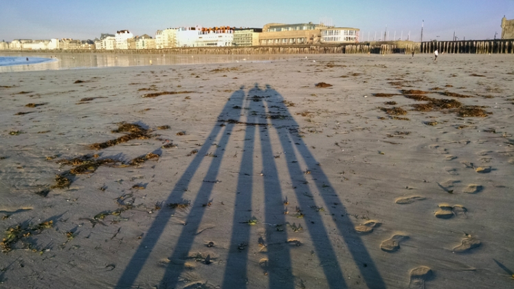 June 2015, strolling on the beach at sunset at Saint-Malo, France.  Shot with a Droid Maxx smartphone. (David Boraks photo)