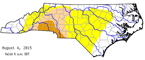 Drought map, Aug. 13, 2015 (NC Drought Management Advisory Council)