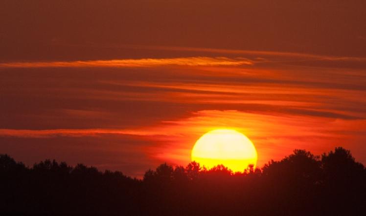 Gorgeous sunrise Friday morning at 6:53, looking east from the railroad tracks toward Antiquity Cornelius. (©2015 David Boraks)