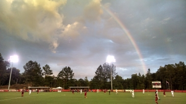 In the midst of the double rainbow, Davidson College scored the first goal of hte match. The Wildcats went on to win 2-1. (©2015 David Boraks)