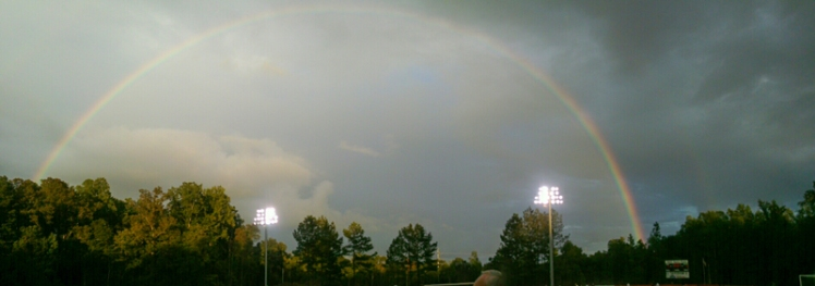 Panorama shot with my Droid Maxx capture the rainbow end to end. This was around 7:20pm 9/7/15 at Davidson College Alumni Soccer Stadium. (©2015 David Boraks)