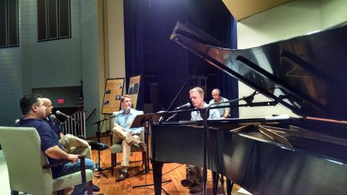 Pianist Chad Lawson, host Duncan McFadyen and guests from Steinway Piano Gallery Charlotte. (David Boraks/WFAE)