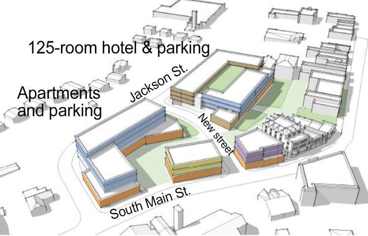 A site plan shows a possible redevelopment of the Davidson Town Hall and 3.5 acres around it. (UNC School of Government Development Finance Initiative)