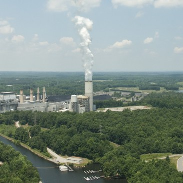 Coal ash is stored around 14 Duke Energy plants in North Carolina, including the Marshall Steam Station on Lake Norman. (David Boraks photo)