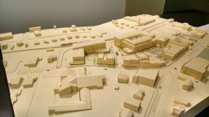 Model by the UNC School of Government's Development Finance Initiative shows what a redeveloped Town Hall site might look like. The model is on display at Town Hall. (David Boraks photo)