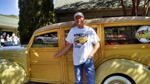 Tom Cotter with his 1939 Ford Woody Wagon at the 2015 Woody Party. (David Boraks photo)