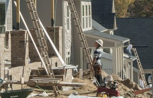 New homes in the Vermillion neighborhood in Huntersville. (David Boraks photo)