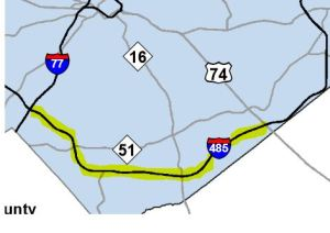 One toll lane is planned in both directions, from I-77 to US 74.  (SOURCE: NCDOT)