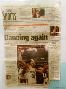 A Charlotte Observer sports page with Davidson basketball star Stephen Curry was among the items. (David Boraks photo)