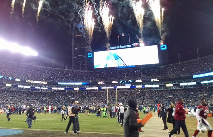 There were fireworks after the game, and plenty on the field during Sunday night's NFC Championship Game at Bank of America Stadium. (David Boraks/WFAE)