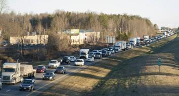 Morning rush hour on I-77 southbound in Cornelius. (David Boraks/CorneliusNews.net)