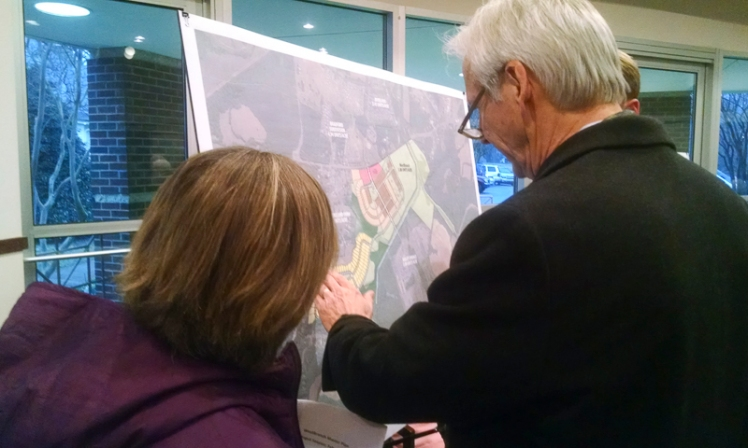 Residents looked at plans for WestBranch. (David Boraks photo)