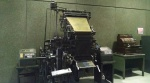 Kids - know what this is? It's an old linotype machine, which operators used to set galleys of hot type before the 1970s. This old machine has been in the lobby at the Observer since it was retired. (David Boraks photo)