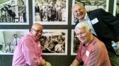 Dick Van Halsema (left), Ken Garfield (top) and former publisher Rolfe Neill were among the Observer alumni who reunited Thursday to say farewell to 600 S. Tryon St. (David Boraks/WFAE)