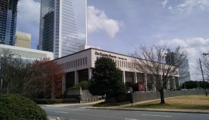 The Charlotte Observer's South Tryon Street headquarters opened in 1971. It's been sold to a developer and probably will be torn down. This was my view for years on the walk in from the parking deck. (David Borak photo)