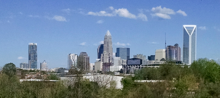 Charlotte skyline from Suttle Avenue, near WBTV's studios. Tilly and I stopped for photos during a museum day in town. (David Boraks photo).