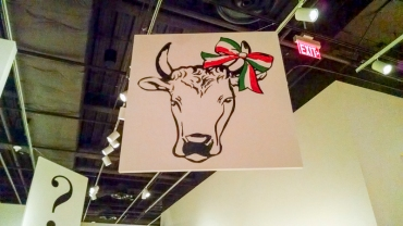 "The ""Viva Moschino"" show at The Bechtler had Moschino's logos - including a cow and question mark."