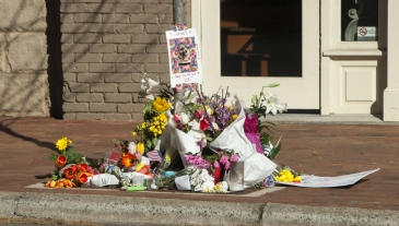 Shrine on South Main Street Davidson in memory of Janet McFadden, who was struck and killed by a garbage truck on April 1, 2016. (David Boraks photo)