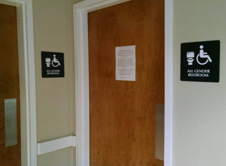 All-gender restroom at Davidson College's Multicultural House. (David Boraks photo)