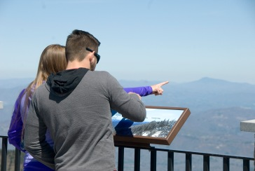 The view from the lookout atop Mount Mitchell is 360 degrees. On a clear day, you can see the Charlotte skyline. (David Boraks/WFAE)