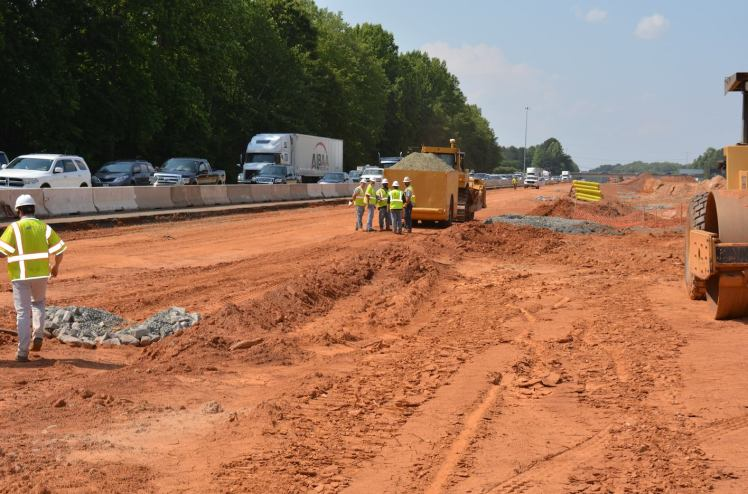 Workers are grading and installing drainage along I-77 in Huntersville and Cornelius, as part of the I-77 widening project. (I-77 Mobility Partners photo)