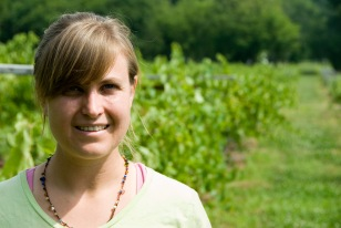 Elizabeth Ann Dover in her vineyard. (David Boraks photo)