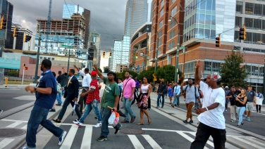 6:09pm: Protesters marching toward police headquarters. (David Boraks/WFAE)
