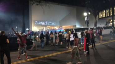 8:40pm: In front of the Omni. (David Boraks/WFAE)