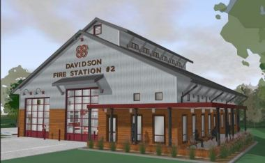 Architect's drawing of the new station, which will serve the east side of town. (Town of Davidson)