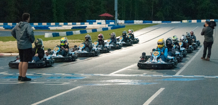 Pros are lined up for the final. (David Boraks photo)