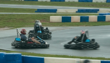 There was plenty of spinning out on the wet track. Some heats took place in downpours. (David Boraks photo)