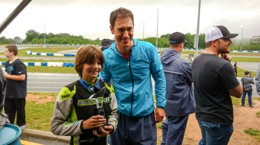Future Stars winner Will Robusto posed with Joey Logano. (David Boraks photo)