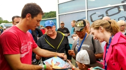 Joey Logano signed autographs. (David Boraks photo)