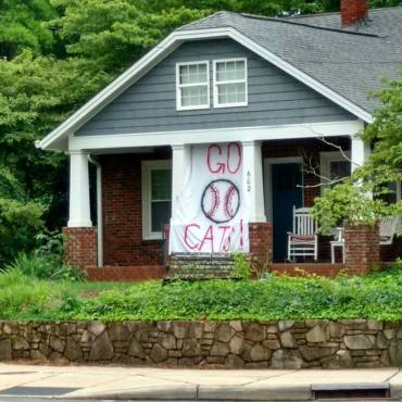 Coach Dick Cooke's house on Concord Road is leading the way on banners.