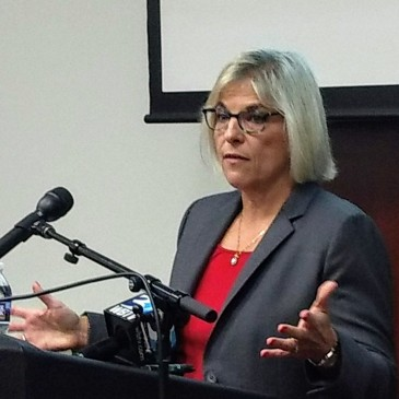 Meckelnburg County manager Dena Diorio talks to reporters Wednesday about this week's ransomware attack, which has shut down county servers. (David Boraks/WFAE)