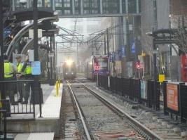Two trains passed near 7th Street Station uptown. (David Boraks/WFAE)