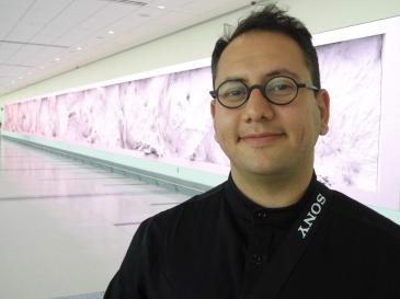"Refik Anadaol is the Turkish American artist who created ""Interconnected"" at Charlotte airport's expansion of Concourse A. (David Boraks photo)"