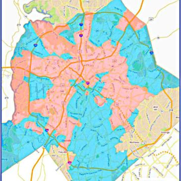 Charlotte's 2011 Affordable Housing Locational Policy was designed to steer more affordable housing to areas in blue, and away from areas that already have a lot of affordable units (pink).