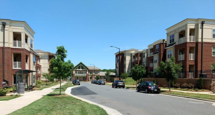 Some newer developments in Charlotte include a mix of housing types and prices, like Renaissance West, which sits on the former site of the Boulevard Homes housing project. (David Boraks/WFAE)
